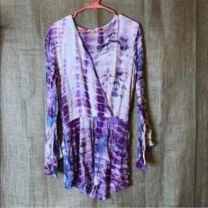 Umgee Romper Size M Purple Tie Die Long Sleeve
